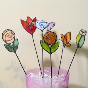 Витражные украшения для цветочного горшка - витражи в подарок - купить в интернет магазине ХНУМ