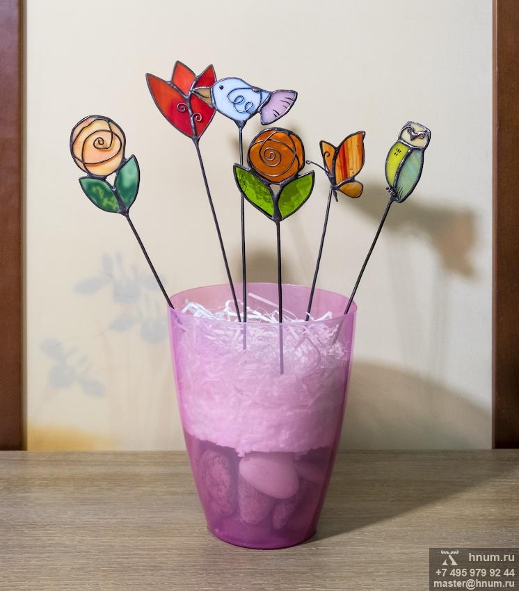 Витражные украшения для цветочных горшков (штекеры) - коллекция Украшения для цветов - витражная мастерская ХНУМ