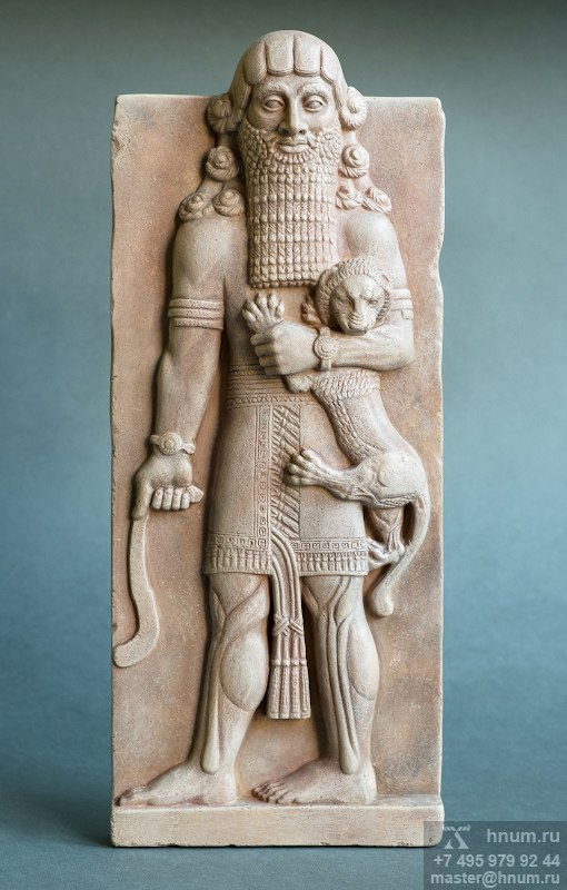 Декоративный скульптурный рельеф Гильгамеш со львом - Коллекция: Древняя Месопотамия